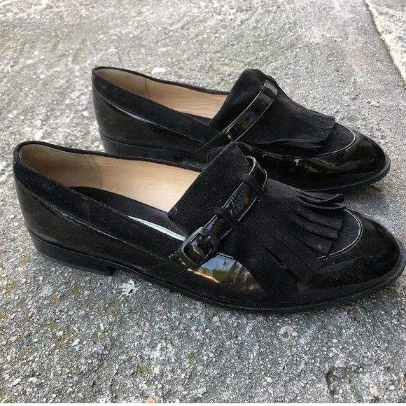 c8dc51e6605 Vintage black suede patent leather tassel loafers.  M 5adf9720739d4853cca62b0a